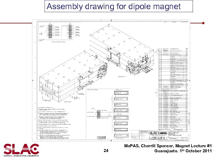 Assembly drawing for dipole magnet 24 Me. PAS, Cherrill Spencer, Magnet Lecture #1 Guanajuato.