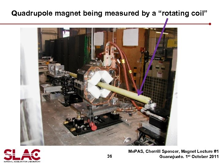 """Quadrupole magnet being measured by a """"rotating coil"""" 36 Me. PAS, Cherrill Spencer, Magnet"""