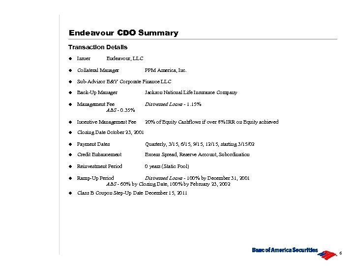 Endeavour CDO Summary Transaction Details u Issuer Endeavour, LLC u Collateral Manager u Sub-Advisor