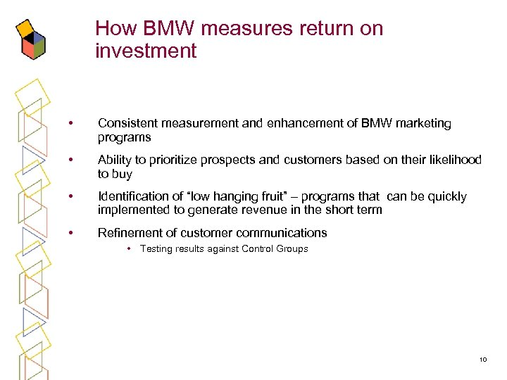 How BMW measures return on investment • Consistent measurement and enhancement of BMW marketing