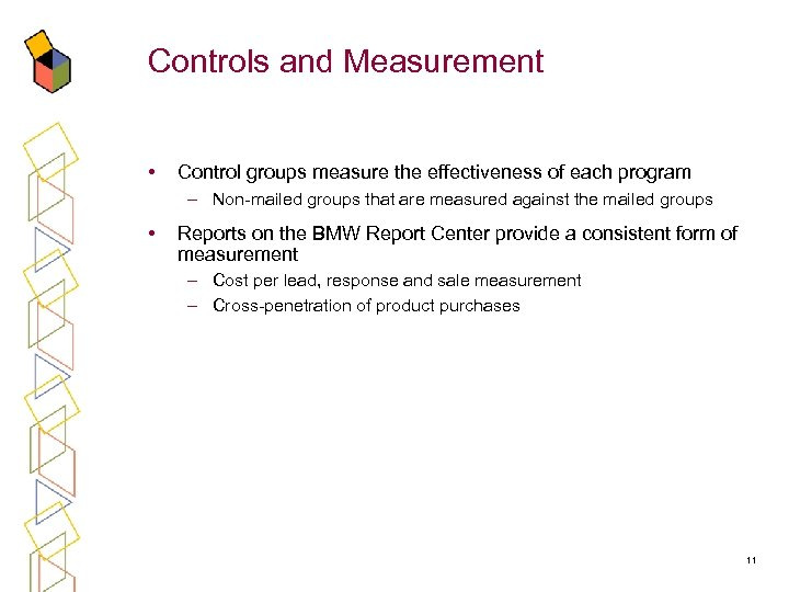 Controls and Measurement • Control groups measure the effectiveness of each program – Non-mailed