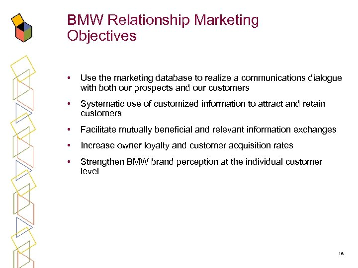 BMW Relationship Marketing Objectives • Use the marketing database to realize a communications dialogue