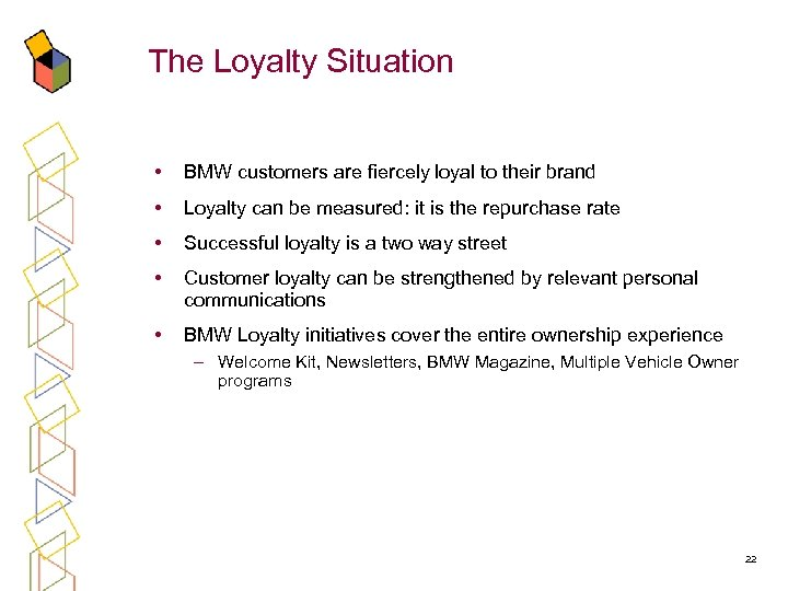The Loyalty Situation • BMW customers are fiercely loyal to their brand • Loyalty