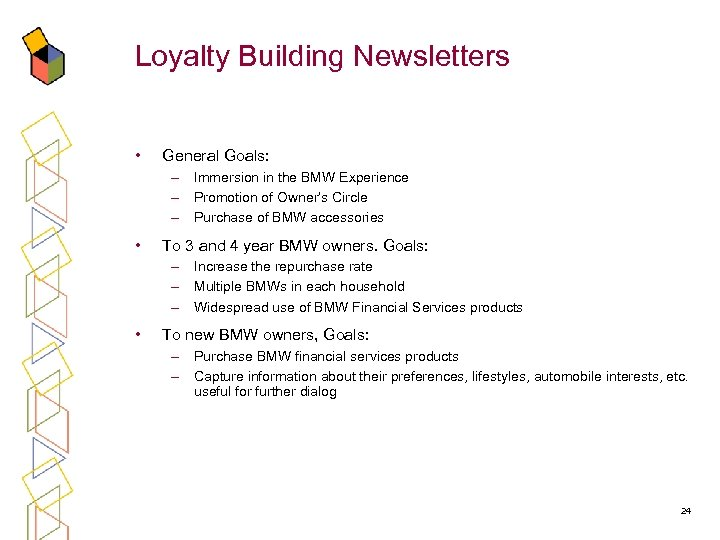 Loyalty Building Newsletters • General Goals: – Immersion in the BMW Experience – Promotion