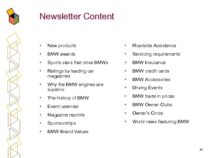 Newsletter Content • New products • Roadside Assistance • BMW awards • Servicing requirements