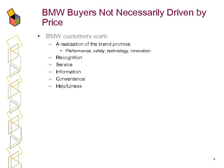 BMW Buyers Not Necessarily Driven by Price • BMW customers want: – A realization