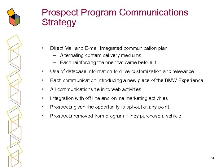 Prospect Program Communications Strategy • Direct Mail and E-mail integrated communication plan – Alternating