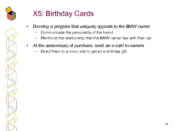 X 5: Birthday Cards • Develop a program that uniquely appeals to the BMW