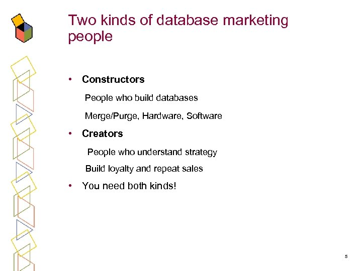 Two kinds of database marketing people • Constructors People who build databases Merge/Purge, Hardware,