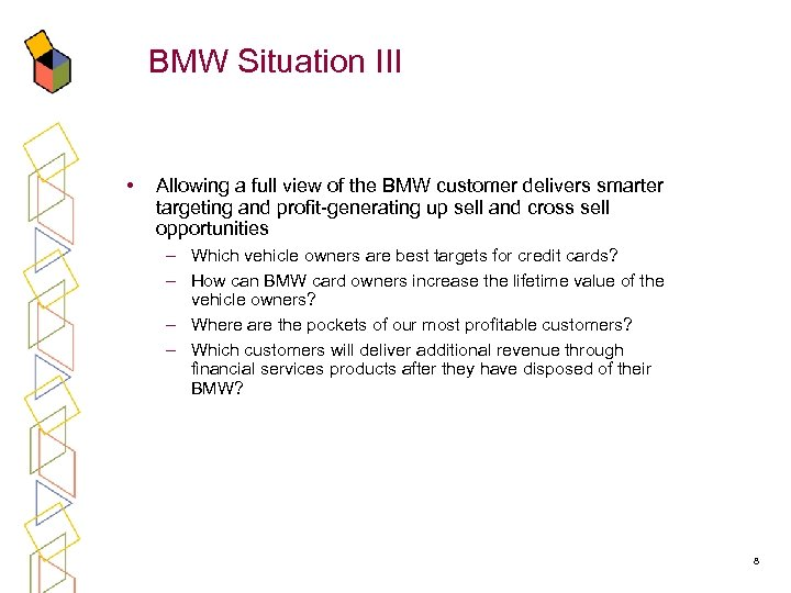 BMW Situation III • Allowing a full view of the BMW customer delivers smarter