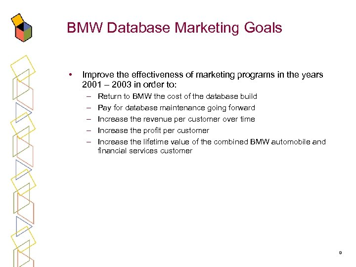 BMW Database Marketing Goals • Improve the effectiveness of marketing programs in the years