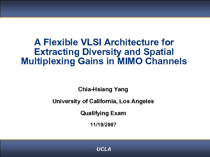 Click to edit Master title style A Flexible VLSI Architecture for Extracting Diversity and