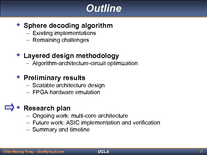 Outline w Sphere decoding algorithm – Existing implementations – Remaining challenges w Layered design
