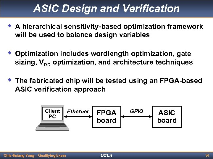 ASIC Design and Verification w A hierarchical sensitivity-based optimization framework will be used to