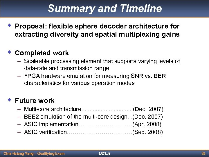Summary and Timeline w Proposal: flexible sphere decoder architecture for extracting diversity and spatial