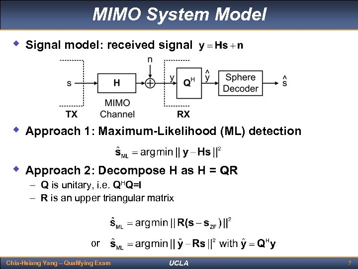 MIMO System Model w Signal model: received signal w Approach 1: Maximum-Likelihood (ML) detection
