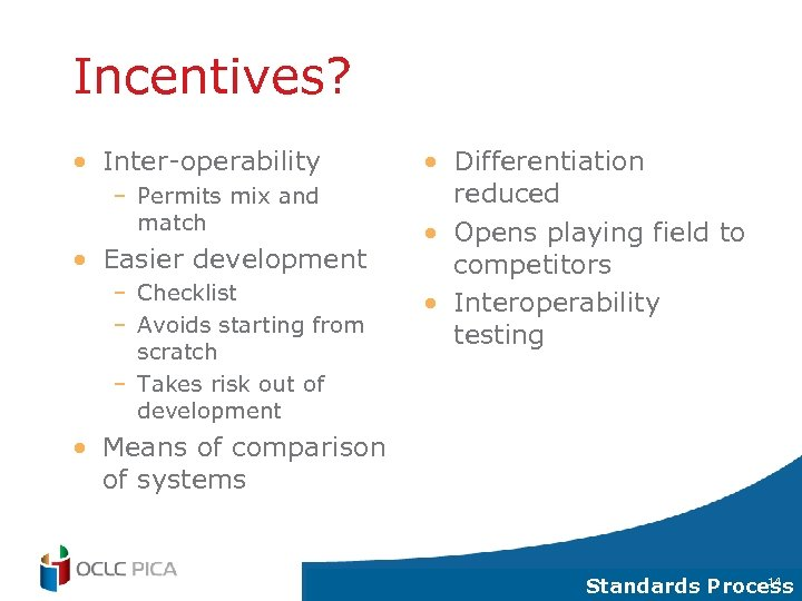 Incentives? • Inter-operability – Permits mix and match • Easier development – Checklist –