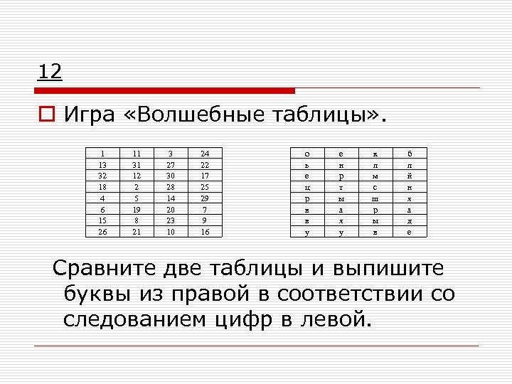 12 o Игра «Волшебные таблицы» . 1 13 32 18 4 6 15 26
