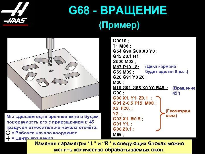 G 68 - ВРАЩЕНИЕ (Пример) Мы сделаем одно арочное окно и будем поворачивать его