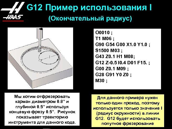 G 12 Пример использования I (Окончательный радиус) O 0010 ; T 1 M 06