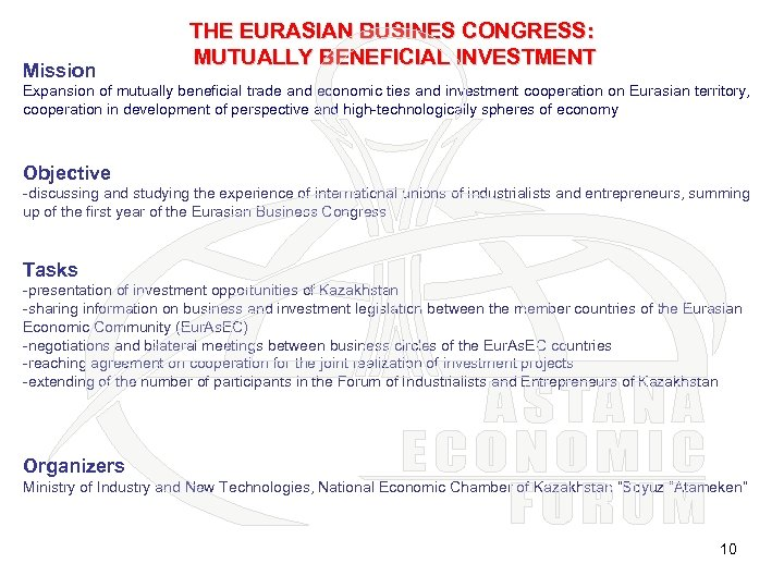 Mission THE EURASIAN BUSINES CONGRESS: MUTUALLY BENEFICIAL INVESTMENT Expansion of mutually beneficial trade and