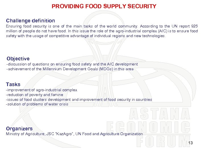 PROVIDING FOOD SUPPLY SECURITY Challenge definition Ensuring food security is one of the main