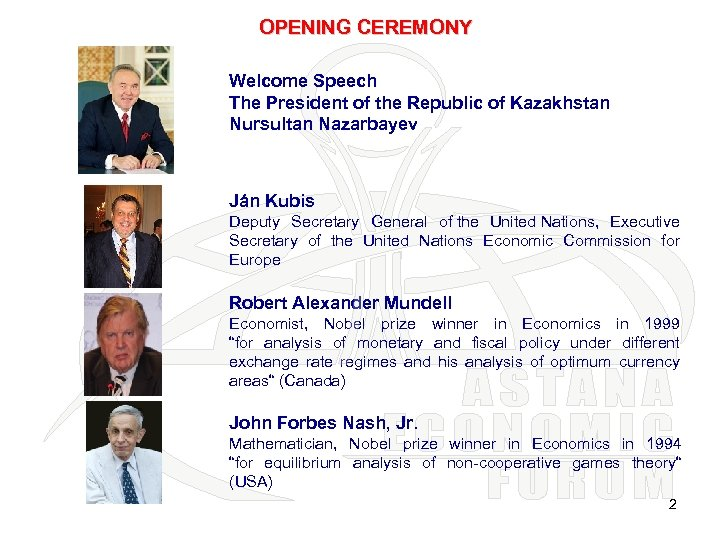 OPENING CEREMONY Welcome Speech The President of the Republic of Kazakhstan Nursultan Nazarbayev Ján