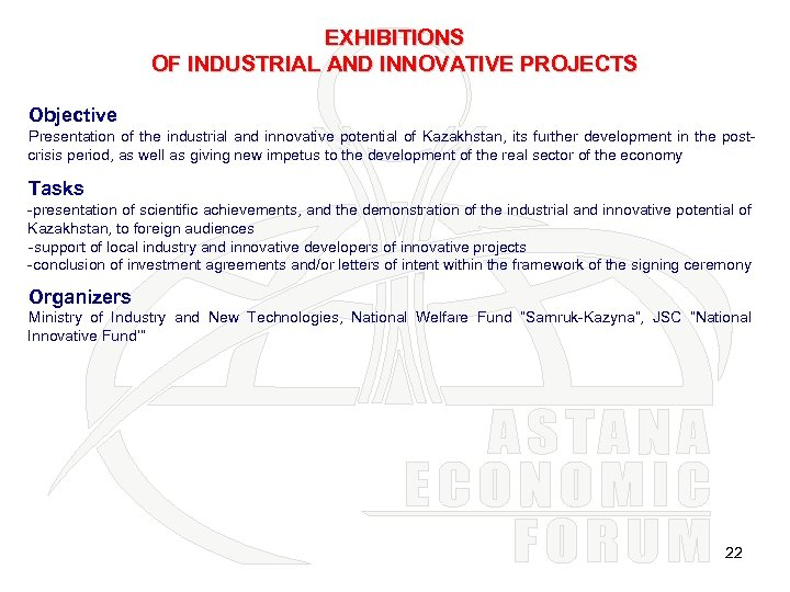 EXHIBITIONS OF INDUSTRIAL AND INNOVATIVE PROJECTS Objective Presentation of the industrial and innovative potential