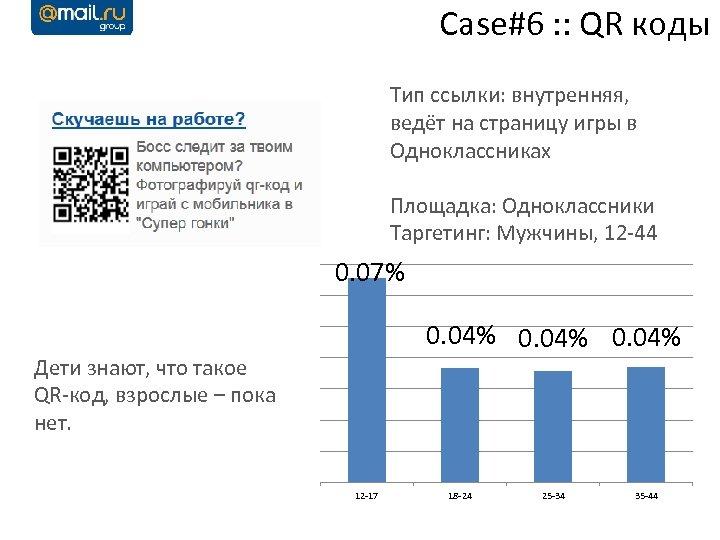 Case#6 : : QR коды Тип ссылки: внутренняя, ведёт на страницу игры в Одноклассниках