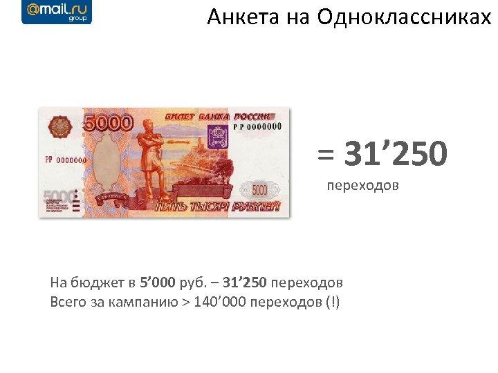Анкета на Одноклассниках = 31' 250 переходов На бюджет в 5' 000 руб. –
