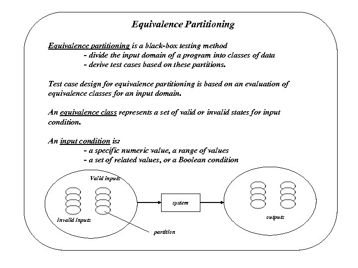 Equivalence Partitioning Equivalence partitioning is a black-box testing method - divide the input domain