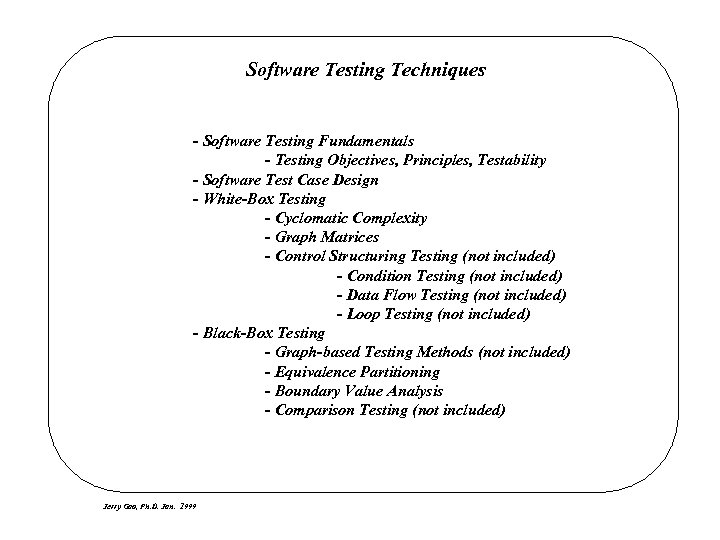 Software Testing Techniques - Software Testing Fundamentals - Testing Objectives, Principles, Testability - Software