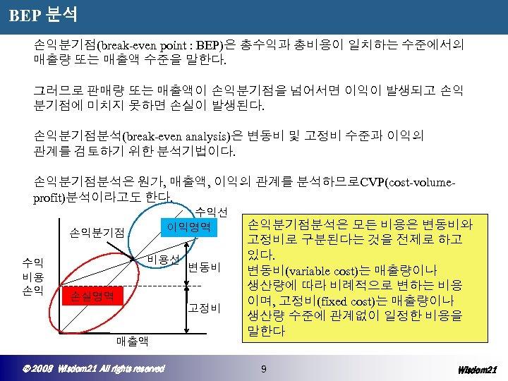 BEP 분석 손익분기점(break-even point : BEP)은 총수익과 총비용이 일치하는 수준에서의 매출량 또는 매출액 수준을