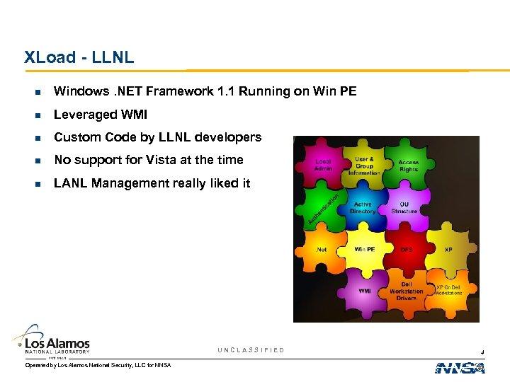XLoad - LLNL n Windows. NET Framework 1. 1 Running on Win PE n