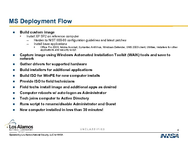 MS Deployment Flow n Build custom image • Install XP SP 2 on reference