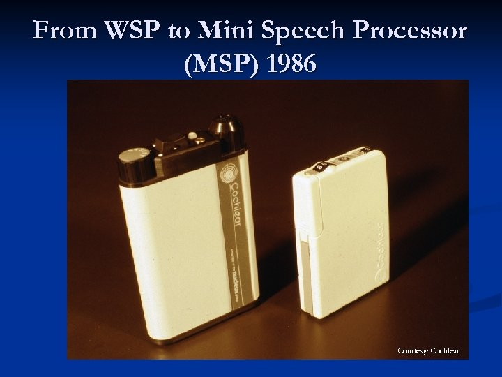 From WSP to Mini Speech Processor (MSP) 1986 Courtesy: Cochlear