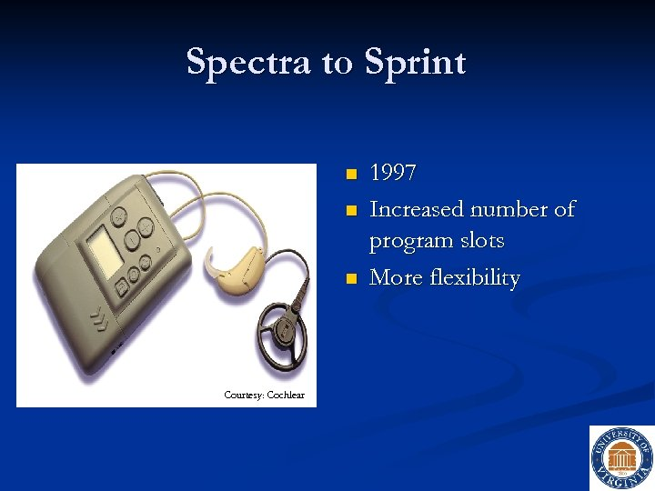 Spectra to Sprint n n n Courtesy: Cochlear 1997 Increased number of program slots