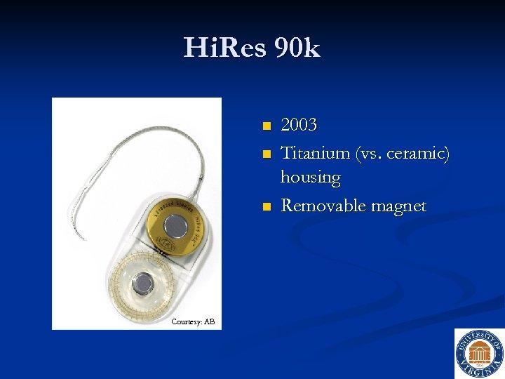 Hi. Res 90 k n n n Courtesy: AB 2003 Titanium (vs. ceramic) housing