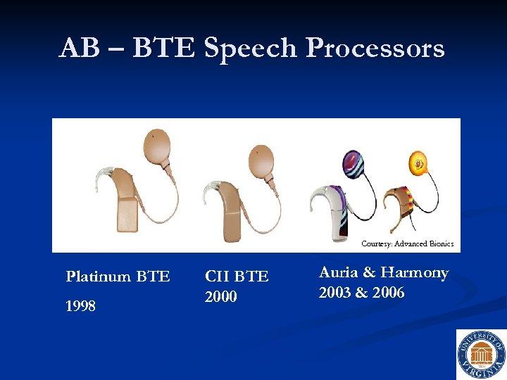 AB – BTE Speech Processors Courtesy: Advanced Bionics Platinum BTE 1998 CII BTE 2000