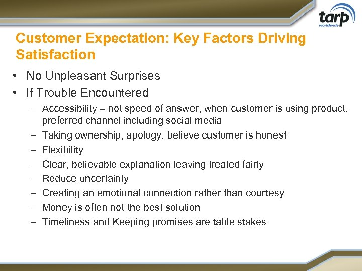 Customer Expectation: Key Factors Driving Satisfaction • No Unpleasant Surprises • If Trouble Encountered