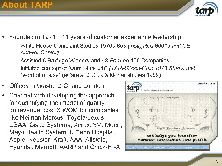 About TARP • Founded in 1971— 41 years of customer experience leadership – White