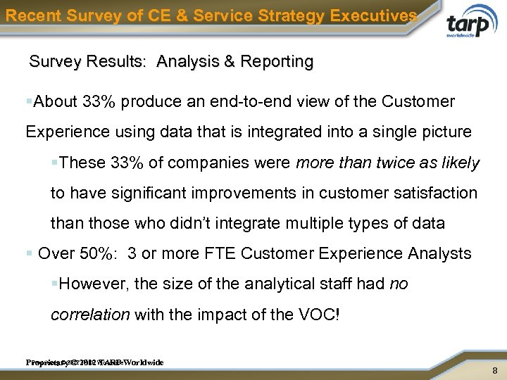 Recent Survey of CE & Service Strategy Executives Survey Results: Analysis & Reporting §About