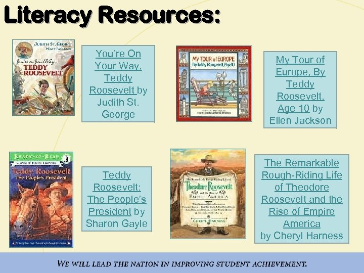Literacy Resources: You're On Your Way, Teddy Roosevelt by Judith St. George Teddy Roosevelt: