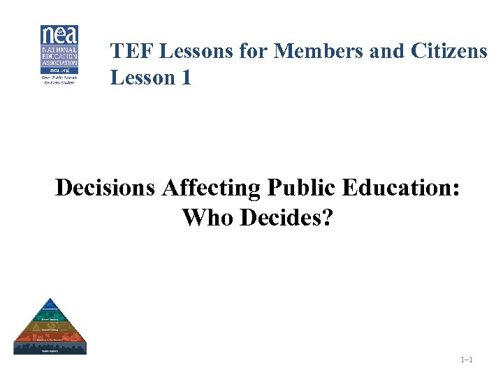 TEF Lessons for Members and Citizens Lesson 1 Decisions Affecting Public Education: Who Decides?