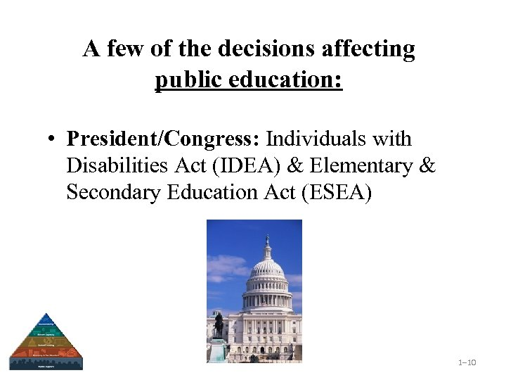 A few of the decisions affecting public education: • President/Congress: Individuals with Disabilities Act