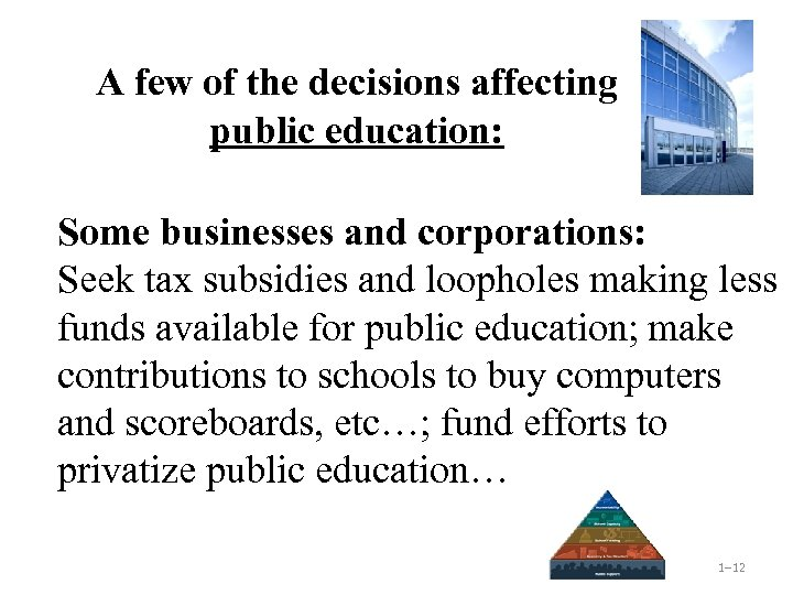 A few of the decisions affecting public education: Some businesses and corporations: Seek tax