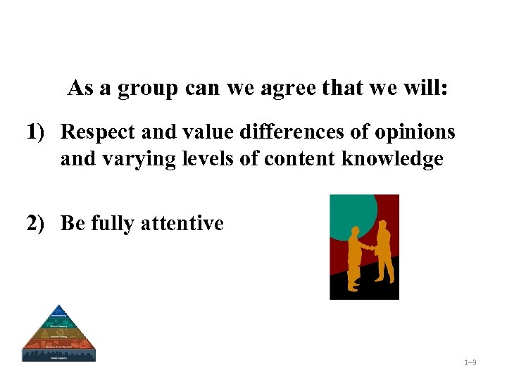 As a group can we agree that we will: 1) Respect and value differences