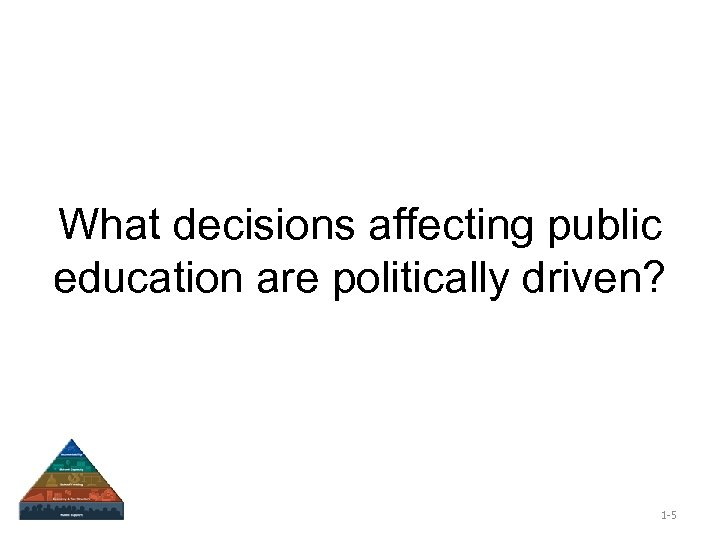 What decisions affecting public education are politically driven? 1 -5