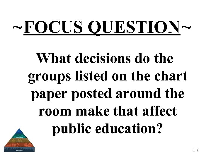 ~FOCUS QUESTION~ What decisions do the groups listed on the chart paper posted around
