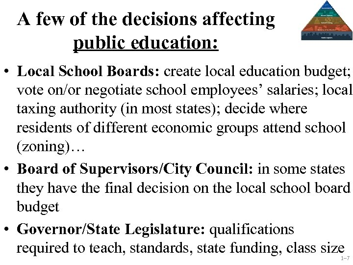 A few of the decisions affecting public education: • Local School Boards: create local